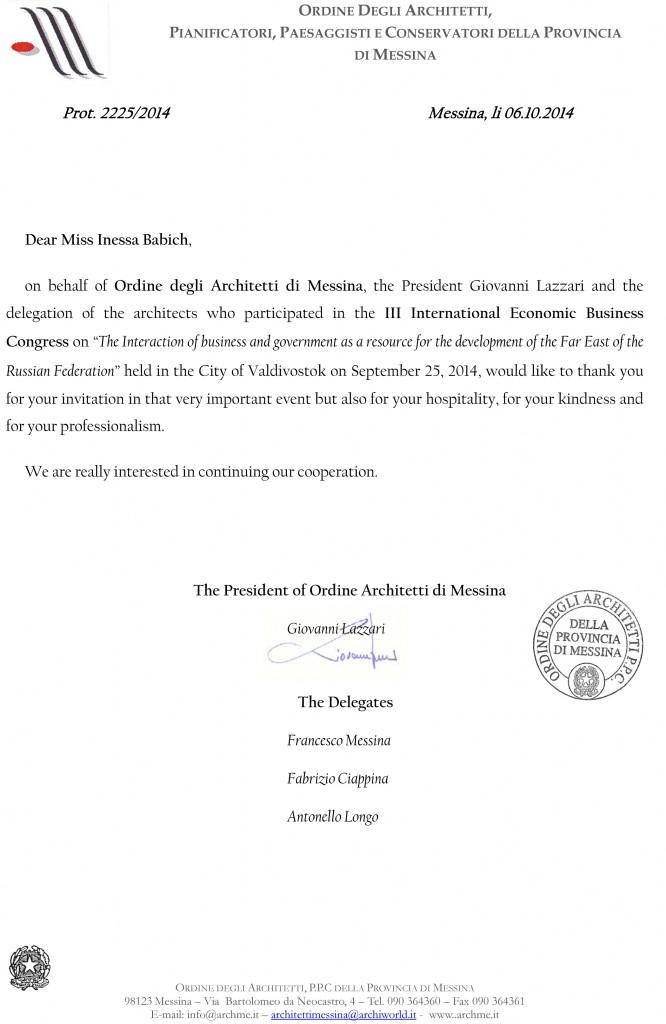 Lettera Miss Inessa Babich